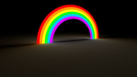 Rainbow arc glowing in dark color light. Isolated rainbow arch gate glow on dark background. Colorful spectrum with different hue glowing in the darkness Stock Photos