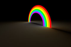 Rainbow arc glowing in dark color light. Isolated rainbow arch gate glow on dark background. Colorful spectrum with different hue glowing in the darkness Royalty Free Stock Image