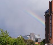 Rainbow over Basingstoke. A Rainbow arc over the town centre of Basingstoke Royalty Free Stock Images