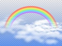 Rainbow arc with white clouds in blue sky 3d vector illustration. Rainbow in sky after rain, spectrum colored curve vector illustration