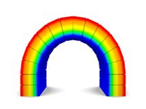 Rainbow Arch. 3D Rendered Rainbow Colored Arch Isolated On White Stock Photography