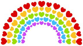 Free Rainbow Arch Hearts Valentines Day Stock Image - 141851131