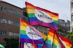 Rainbow Arcigay flags. Rainbow flags of the Arcigay association at the Fvg Pride that took place in Udine Italy on 9th June 2017 Stock Image