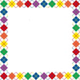 Rainbow Argyle Border. Border of bright rainbow colored argyle pattern with space for text Royalty Free Stock Photo