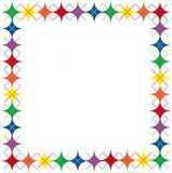 Rainbow Argyle Stars Border. Border of bright rainbow colored argyle stars pattern with space for text Royalty Free Stock Photos