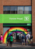 Rainbow around TD Bank ATMS Royalty Free Stock Image