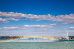 Rainbow Artificially Made Above Lake Constance Stock Images