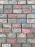 Rainbow asphalt. Sidewalk, pavement, footpath, background, chalk stock photos