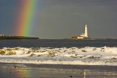 Rainbow At St. Marys Lighthouse Near Newcastle Stock Photo