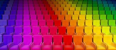Rainbow auditorium. The auditorium with motley seats 3d rendering vector illustration