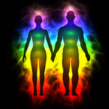 Rainbow Aura Of Woman And Man Royalty Free Stock Photos