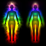 Rainbow aura of woman - silhouette Royalty Free Stock Photos