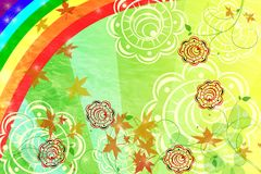 Rainbow and autumn background or frame. Autumn colored stylish background with rainbow and flowers vector illustration