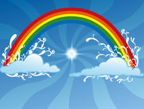 Rainbow background. Illustration of happy rainbow, with some clouds, on blue radius background Royalty Free Stock Images
