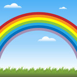Rainbow background. Illustration of a background with a colorful rainbow,blue sky,clouds and a meadow.EPS file available royalty free illustration