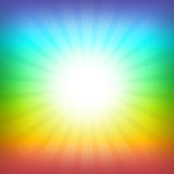 Rainbow background. Shiny rainbow square background with light and dark colorful rays. Ideal for spiritual, children, hippies or homosexual themes royalty free illustration