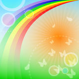 Rainbow background. Summer rainbow background with butterflies and shiny sun - vector illustration eps10 Stock Images