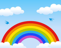 Rainbow Background. Rainbow and sky background with clouds and birds. Eps file available Stock Photo
