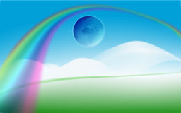 Rainbow background. Abstract illustration, peaceful scene with earth globe in the blue sky and rainbow Stock Photos