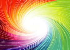 Rainbow background. Spiral rainbow colors background with stars Royalty Free Stock Photo