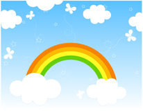Rainbow background / cartoon. Cute Rainbow and butterflies background illustration Royalty Free Stock Photo