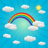 Rainbow background with clouds. Colourful rainbow background with clouds. Vector illustration Royalty Free Stock Images