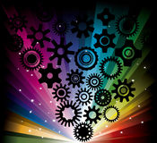 Rainbow background with gearwheel Royalty Free Stock Photos