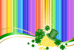 Rainbow background with heap of gold. Leprechaun gold  and a hat on rainbow background with clover Royalty Free Stock Photography