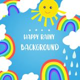 Rainbow background for the kids, with sun and clouds. Cute design, vector  illustration Stock Photo