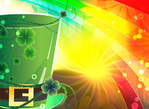 Rainbow background and  magic hat Stock Photos
