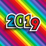 Rainbow background with 2019 numbers. Rainbow background with 2019 paper cut numbers. For New Year colorful designs of greeting cards, website banners and vector illustration