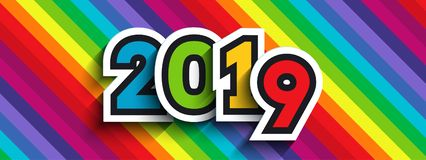 Rainbow background with 2019 numbers. Rainbow background with 2019 paper numbers. For New Year colorful designs of greeting cards, website banners and headers royalty free illustration