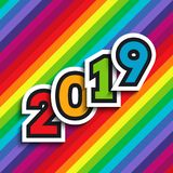 Rainbow background with 2019 numbers. Rainbow background with 2019 paper numbers. For New Year colorful designs of greeting cards, website banners and headers stock illustration