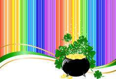 Rainbow background with a pot of coins. Leprechaun pot of gold on rainbow background with clover Royalty Free Stock Photos