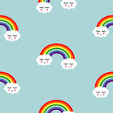 Rainbow background. Seamless pattern with smiling sleeping clouds and rainbows for kids Stock Image