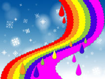 Rainbow Background Shows Blue Sky And Snowing Stock Photo