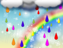 Rainbow Background Shows Colorful Rain And Snowing Royalty Free Stock Photography