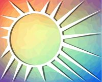 Rainbow background with sun drawing on triangle patterned area Royalty Free Stock Photography