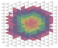 Rainbow abstract background of triangles multicolored volumetric illusion of a round spot of heat thermal imager vector illustrati. Rainbow background of stock illustration