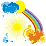 Rainbow background - vector. Abstract sky and rainbow background - vector Stock Photography