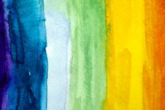 Rainbow background. Watercolour hand drawing. Royalty Free Stock Image