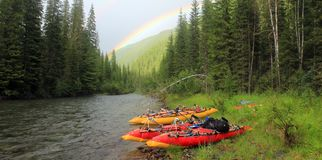 Rainbow on the background of wild nature of the Altai stock photo