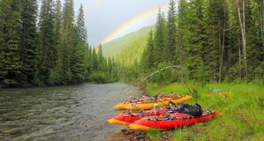 Rainbow on the background of wild nature of the Altai royalty free stock photo