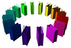 Rainbow bags. Circle made of different coloured shopping bags Royalty Free Stock Photo