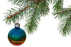 Rainbow ball on the branch of Christmas tree stock photography
