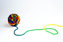 Rainbow ball of yarn Royalty Free Stock Photos