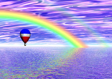 Rainbow Balloon Fantasy. Balloon Flying Under Rainbow royalty free illustration