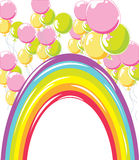 Rainbow and Balloons Royalty Free Stock Photography