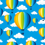 Rainbow balloons and clouds Royalty Free Stock Photos