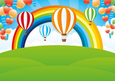 Rainbow and balloons.